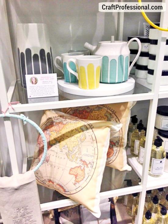 Shelves of handmade items for sale