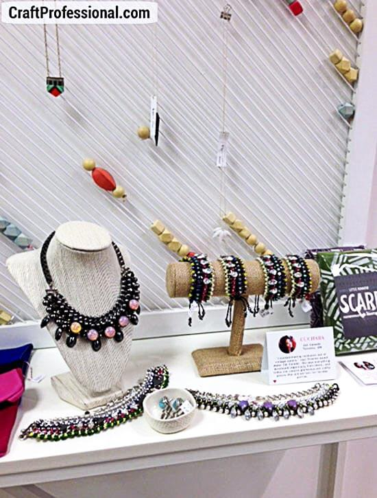 Handmade jewelry in a retail store
