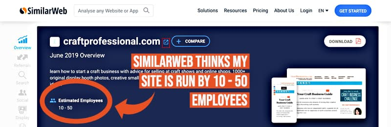 Screenshot of SimilarWeb site shows the site estimates CraftProfessional.com has 10-50 employees.