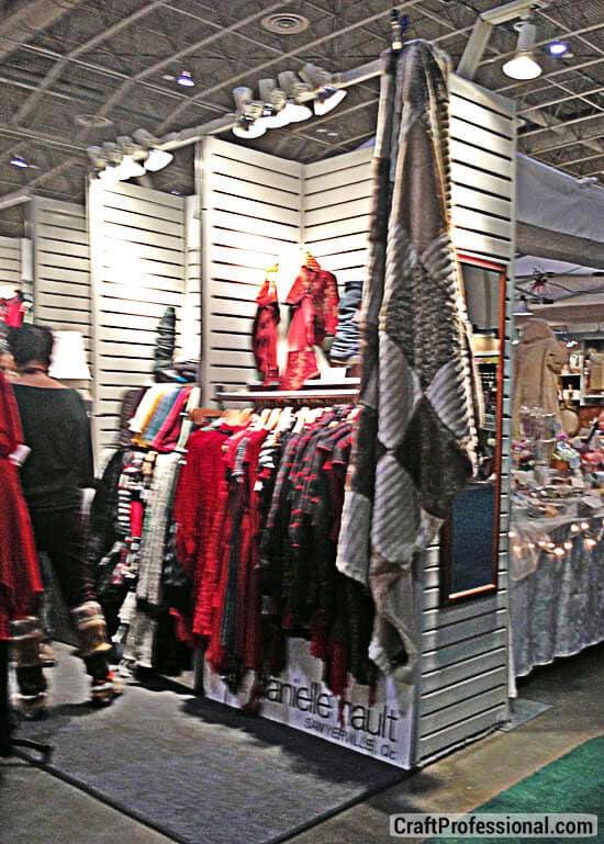 handmade clothing slatwall booth
