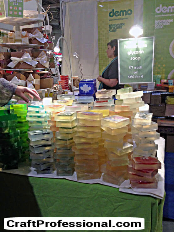 Stacks of pretty handmade soap
