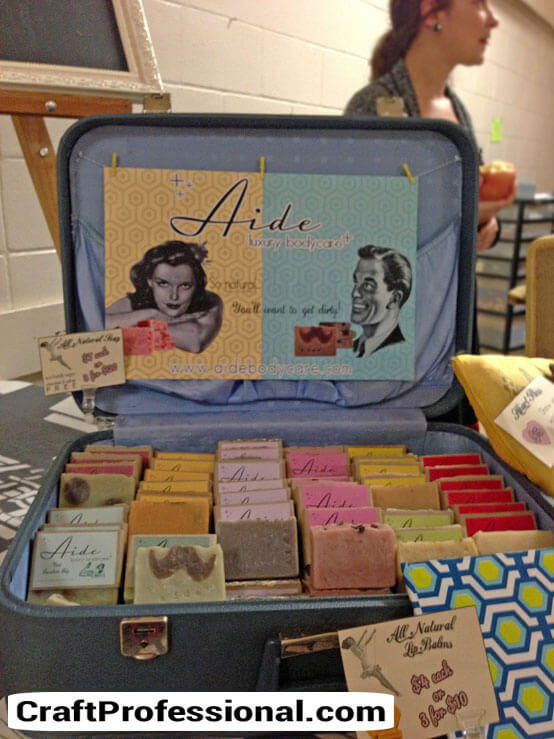 Vintage suitcase craft display