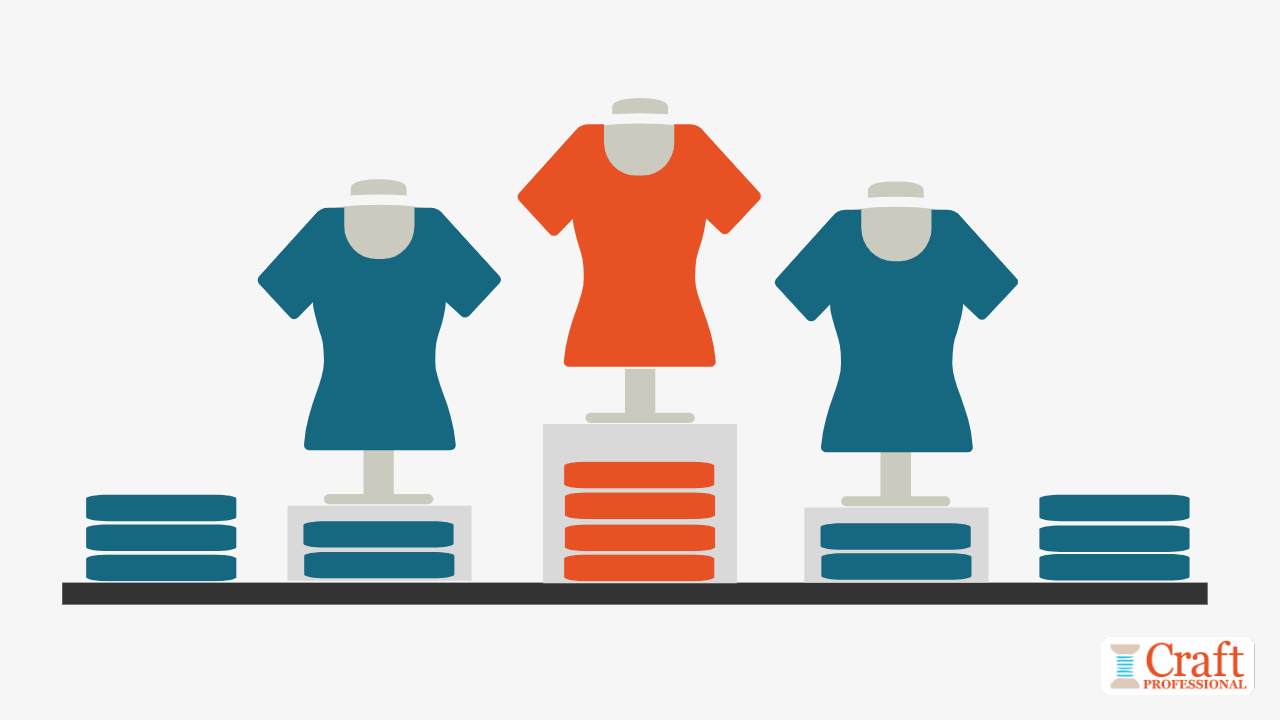 Visual merchandising technique - Pyramid shaped t-shirt display on a tabletop.