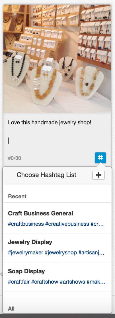Handmade jewelry display on Instagram