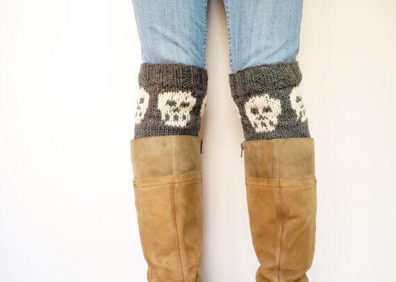 Skull boot cuff knitting pattern by Web and Rock