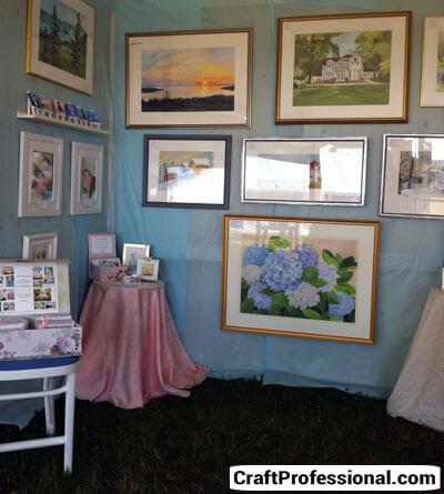 Art display on blue