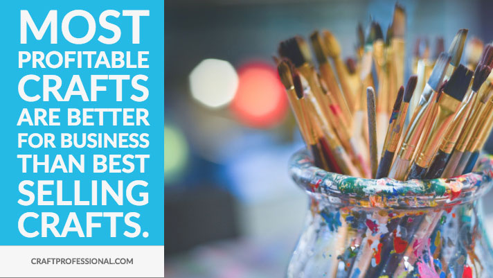 Jar with paintbrushes with text overlay - Most profitable crafts are better for business than best selling crafts