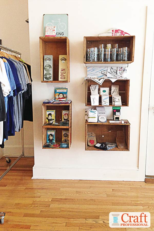 Crates as display shelves