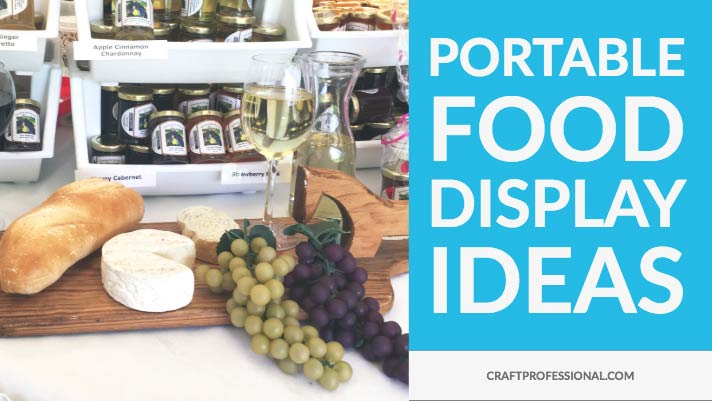 Wine jellies on display with text portable food display idea