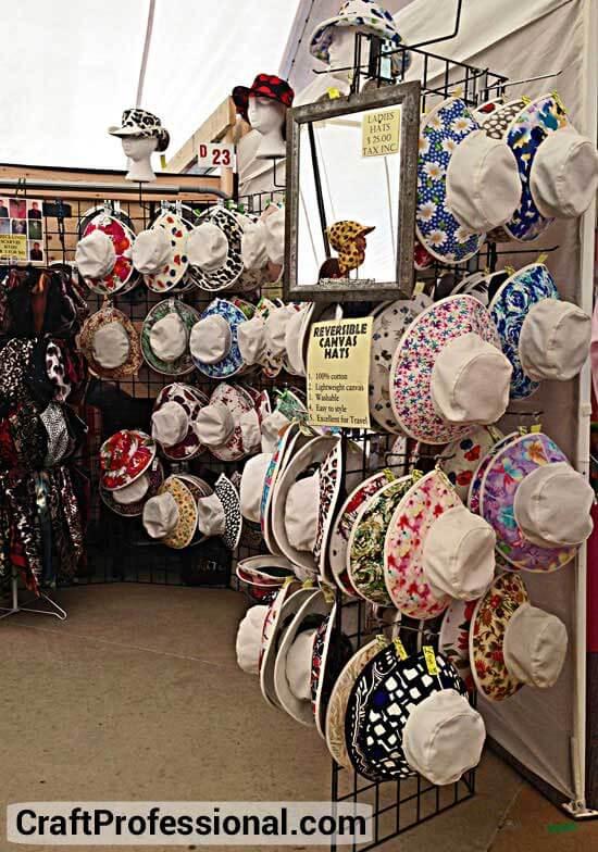 Summer hats on a gridwall rack
