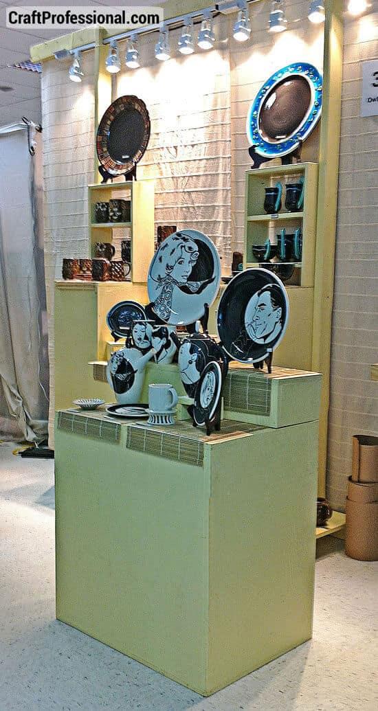Handmade plate display on pedestals