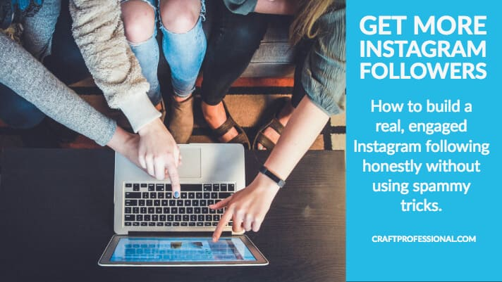 Group sitting around laptop with text overlay Get More Instagram Followers