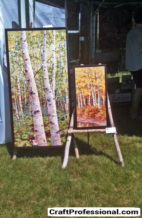 Painting displayed on an easel